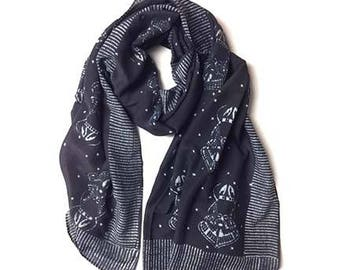 Black scarf for women spring scarves wrap block printed hand dyed wholesale Cotton/Silk women Fashion Accessories Mothers day Gift - HORSE