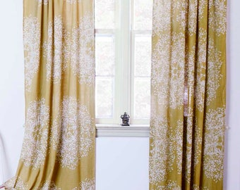 """Yellow window curtains window treatment Block print natural dye home and living houseware -ONE panel - Tree Forest 56""""w x 108""""L"""