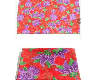 Pillowcase - Standard Size - Sham - Floral - Asian - Red - Purple - Green - Gold - Hand Made - Bedding - UNIQUE - Colorful - Feminine