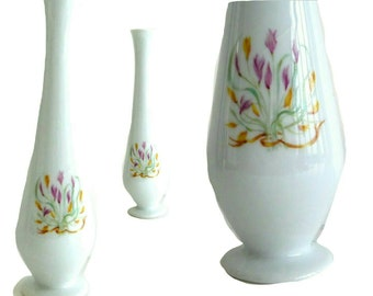 Bud Vase -  Fine China - LIMOGES - France -Tulips - French Floral - Flower - Dainty - Porcelain - Girly - Feminine - Hostess Gift