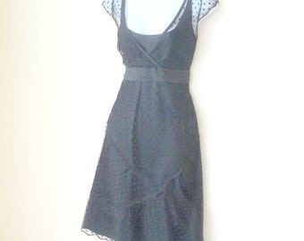 Black Dress - Sheer Dotted Lace Netting - Cap Sleeves - Scallop Details - Feminine - Ooh La La - French - Retro Art Deco Style - Liner Slip