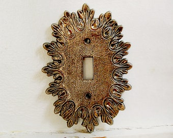 Vintage Regency Light Switch Plate Cover Brass with Ornate Italianate Design 1960s 1970s.