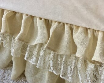 In Stock and Ready to Ship Burlap and Lace Crib Skirt, Burlap Crib Skirt, Ivory Lace Ruffled Crib Skirt, Burlap Ruffled Crib Skirt