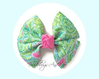 Paisley Pinwheel Bow, Lime, Aqua And Pink Hair Bow, Hair Bows For Girls, Paisley Hair Bows, Pinwheel Bows, M2M Hair Bows, Pinwheel Hair Bows