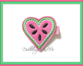 Watermelon Hair Clip, Felt Hair Clip, Food Hair Clip, Girls Watermelon Hair Clip,  Pink Watermelon Hair Clip, Heart Watermelon, Toddler Clip