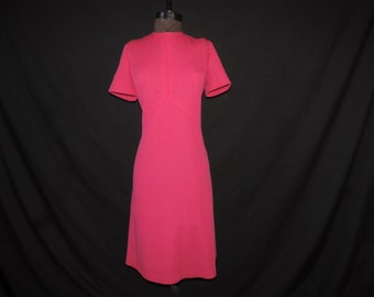 fuchsia pink mod dress 60s bright atomic X bodice frock large