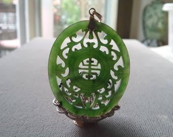 Nephrite Jade Carved Pendant Vintage Gold And Jade Good Fortune  Free Shipping To The Usa And