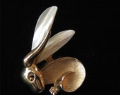 Boucher Bunny Brooch, Mother of Pearl Ears