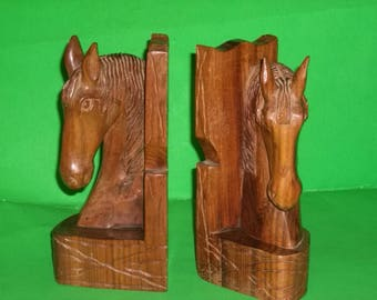Wooden Carved Horse Bookends