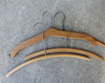 Antique Vintage Wooden Hangers Collection Four Clothing Storage Organization Display