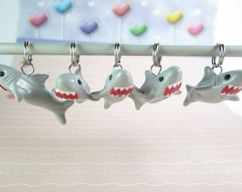 Shark Stitch Markers, knitting accessories, shark charms, gift for knitters, knit, miniature animals, gift for her, polymer clay gray unique