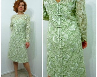 Vintage 1960s dress lime lace 60s shift dress Bows back Formal Wedding Party Small