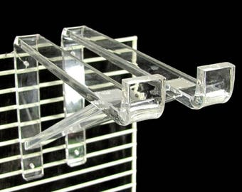 "Vintage LUCITE SHELF BRACKET Pair Clear 10"" Brackets Mid Century Modern Mod"