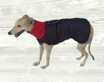 Whippet Winter Coat, Custom made with quilted and insulated nylon, tummy panel and fleece turtleneck/snood
