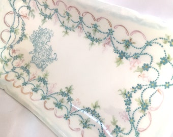 Antique H & Co Limoges France hand painted Porcelain Tray