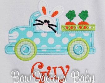 Boys Easter Shirt,  Bunny Truck Easter Shirt, Boys Easter Bunny Shirt, You Pick Fabrics and Font