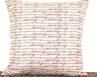 Christmas Pillow Cover Cushion Script Merry Red Beige Decorative Repurposed 18x18