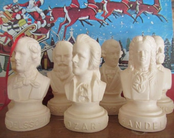 Classical Musician Ornaments-Upcycled Vintage Busts