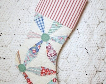 Quilt Stocking | Pinwheel Pattern Feed Sack Vintage Quilt Christmas Stocking with Vintage-style Woven Ticking Cuff