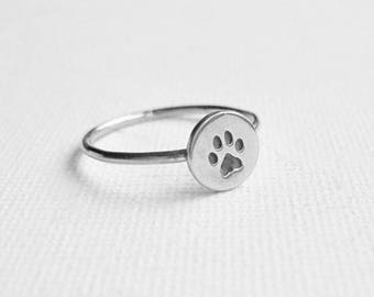 Cat Ring Sterling Silver, Paw Print Ring, Cat Jewelry, Cat Kitten Stacking Ring, Cat Lover Gift, Mini Ring, Personalized Gifts for Women