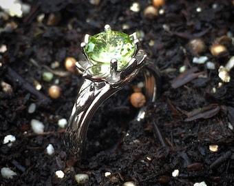 Peridot Lotus Flower Ring~Gem Quality~Palladium