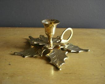 Small and Bright - Vintage Brass Candle Holder with Leaf or Flower Base - Brass Candlestick Leaves and Finger Hook