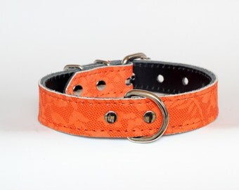 "OrangeLeather Collar - Orange Floral Leather Dog Collar - 1"" Leather Collar - Orange Dog Collar - Ready To Ship - Fits 12"" to 16"" Necks"