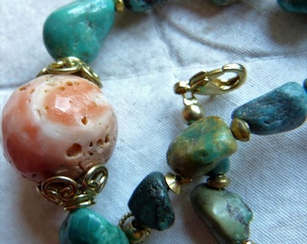 Antique Tibetan turquoise necklace with real coral and  untreated natural  turquoise beads