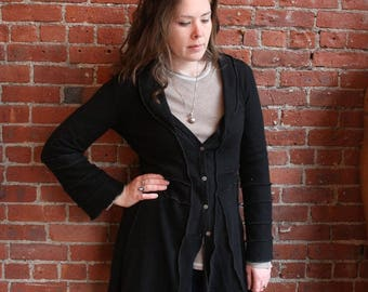 100% cashmere recycled sweater- long cardigan- sweater duster- black-upcycled sweater coat-size med/large buttons- flared sleeves- empire
