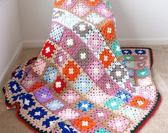 Colorful Crochet Knit Blanket with Granny Squares