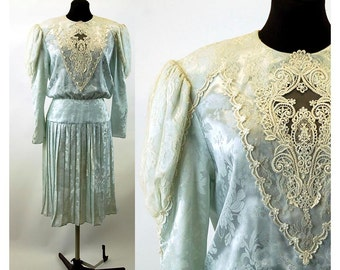 1980s dress pleated drop waist Edwardian style lace inserts Log o mutton sleeves Scott McClintock Size L