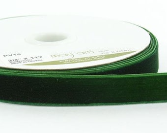 Velvet Woven Ribbon - Green - 3/4 inch  - You Choose Yards