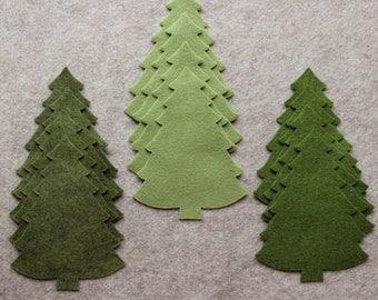 Greensleeves - Large Christmas Trees #2 Value Pack - 36 Die Cut Wool Blend Felt Shapes