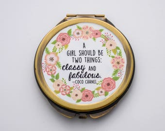 Compact Mirror - A girl should be two things classy and fabulous - Coco Chanel - Pocket Mirror, Purse Mirror, Purse Accessories