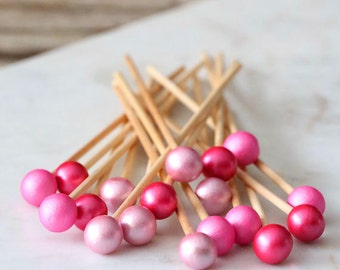 Pink Ombre Lollipop Sticks, Pink Cake Pops Sticks, Rock Candy Sticks, Ballerina Party Cake Pop Sticks, Wood Lollipop Sticks, Valentine's Day