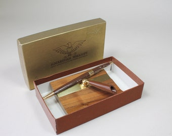 Vintage Park Sherman Desk Set Pen Set Pen Holder American Walnut Retro Desk Accessory Original Box 1950s 1960s