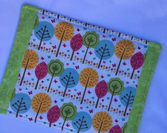 Snack Mat, Mug Rug, Colorful  Whimsical Trees with Coordinating Green Trim