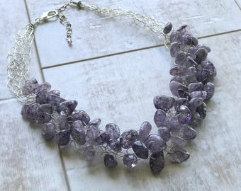 Quartz Necklace, Purple Quartz Necklace, Chunky Necklace, Statement Necklace, Wire Crochet Necklace