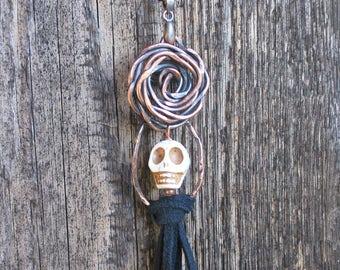 Skull Roses Tassel Necklace Copper Halloween Dia de Los Muertos Day of the Dead Suede Black Seed Beads Gothic Creepy Sugar Skull Pendant