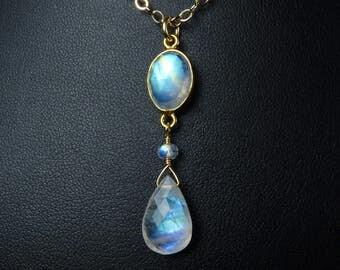 Rainbow Moonstone Necklace, Faceted Rainbow Moonstone Pendant, AAAA and AAA Rainbow Moonstone Gems, Turquoise, Aqua, & Blue Fire, Gold Bezel