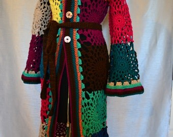 Crochet Gypsy Hippie Sweater Top Mixed Colors M,L