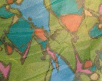 Sale Fabric- Mad Mod Vintage Fabric - 1970s Sheer Polyester - 2 Yards