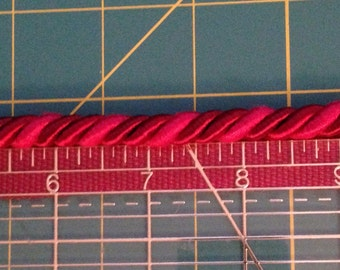Red Rope Trim - Upholstery -Two Tone Twisted Rope Trim with Lip By the Yard