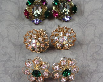 Lot of 3 Pairs of Vintage Gold Tone Rhinestone Clip On and Screw Back Earrings