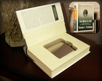 Hollow Book Safe & Flask (The World is Flat)