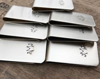 6 Money Clips Custom Initials Men's Moneyclips SET of 6 Wedding Groomsmen Gifts for Groomsman Best Man Groom