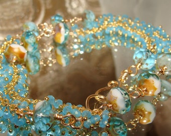 Aqua Picasso bead and cluster chain double wrap bracelet Sacred Jewelry Pamelia Designs