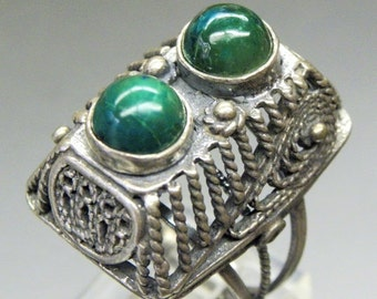 Scorpio Birthday SALE Beautiful CHRYSOCOLLA Sterling Silver Vintage Ring