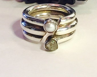 2017 New Years SALE Modernist Sterling Silver Raw Diamond Pearl Vintage Ring