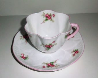 Shelley Fine Bone China Cup and Saucer - Bridal Rose